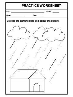 of Slanting Lines-Pattern-Writing-English Worksheet For Nursery Class, Pattern Worksheets For Kindergarten, Grade R Worksheets, Line Tracing Worksheets, Nursery Worksheets, Letter Worksheets For Preschool, English Worksheets For Kids, Writing Worksheets, Shapes Worksheets