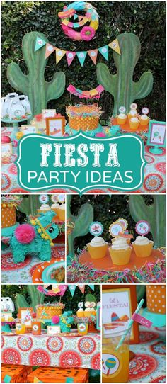 What a fun fiesta in orange, aqua, fuschia, and yellow! See more party ideas at http://CatchMyParty.com!
