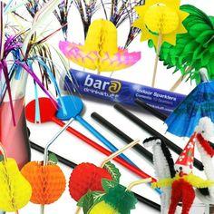 Cocktail Accessories Set with 24x Cocktail Umbrellas, 10x Glitter Sticks, 10x Fuzzy Animals, 25x Disc Stirrers, 10x Indoor Sparklers, 1000x Frappe Cocktail Straws, 12x Palm Tree Picks, 24x Foil Parasols