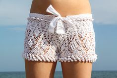 Exclusive white crochet beach shorts  free by LecrochetArt on Etsy, $99.00