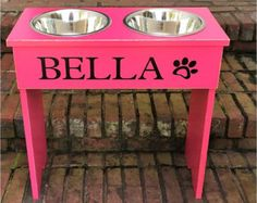 Personalized Dog Bowl Raised Stand 14'' by TurquoiseWoodWorks