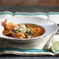 Roasted Tomato Soup with Shrimp and Queso Fresco