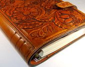 Leather Notebook Diary Journal - FLORA. Brown.