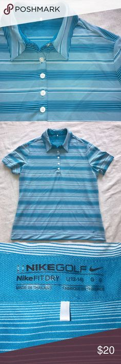 """Nike Golf Large 12-14 Blue White Stripe Polo Shirt Nike Golf Size Large (12-14) 100% Polyester Laid Flat Bust 20.5"""", Length 24.5"""" Excellent Condition with no noted flaws  Shop my closet for Women's and Children's Fashion.   Shop @mensstylehouse for top brand men's fashion. Nike Tops"""