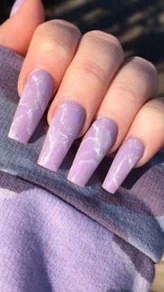 Purple Acrylic Nails, Summer Acrylic Nails, Best Acrylic Nails, Purple Nails, Spring Nails, Summer Nails, Lilac Nails Design, Pastel Purple, Fall Nails
