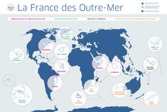 A map of all of France's overseas territories and departments, DOM-TOMS