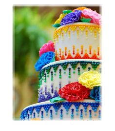 Beautiful Multi-Colored Icing Decorated Cake
