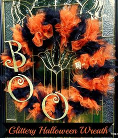 Halloween Wreath DIY with tulle and Glitter Letters. - Miss Information