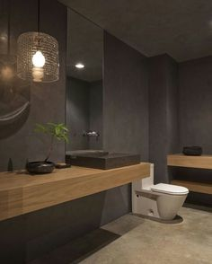 Minimalist warm bathroom