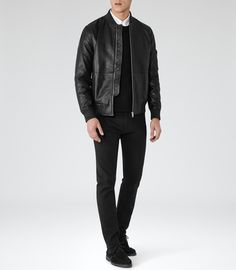 Mens Black Leather Bomber Jacket - Reiss Bardot
