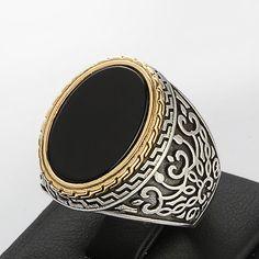 Silver Mens Ring 9.75 us size Black Onyx Man Ring by ATAjewels #mensring #menssilverring #sterlingsilverring #onyxring #mensonyxring #vintagemensring
