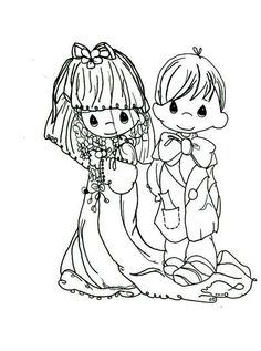 free precious moments wedding coloring pages for kids 5092