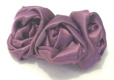 BROOCH LARGE VIOLET Three Rosettes Silk Upcycled by recyclingroom, $25.00