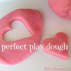 Perfect Play Dough - easy to make and stays soft forever! We add glitter to the dough to make it extra fun!
