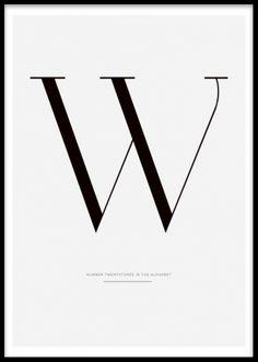 Grafisk affisch T plansch med bokstav W.