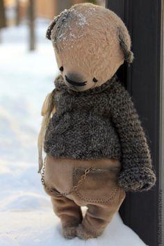Медведь - бежевый,темно-серый,мишка,мишка тедди,тедди,тедди медведи,медведь