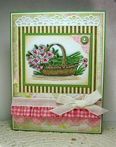 Pick a Posey - I like the ribbon and gathered gingham. Basic Grey, Graphic 45, Flower Basket, Petunias, How To Better Yourself, Paper Size, Gingham, Card Stock, Stampin Up
