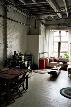 white brick wall / open concept