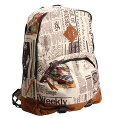 Unisex Newspaper Print Canvas Backpack School Shoulder Bag Satchel Travel Tote Rucksack