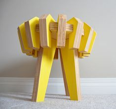 Asterisk is a puzzle stool created for children by Canadian industrial design student, Christina Sicoli. Made from 17 interlocking pieces, the stool assembles with no tools making it easy for kid's to put together and take apart.