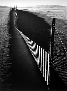 Sand fence, Keeler, California, 1948 by Ansel Adams. // I love me my Ansel Adams. Edward Weston, Black And White Landscape, Black N White Images, Ansel Adams Photography, Art Photography, Famous Photographers, Landscape Photographers, Photo D Art, Straight Photography