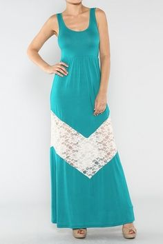 Dark Jade Sleeveless Solid Knit Jersey Maxi Dress With Lace Chevron Trim Detail (FREE SHIPPING)