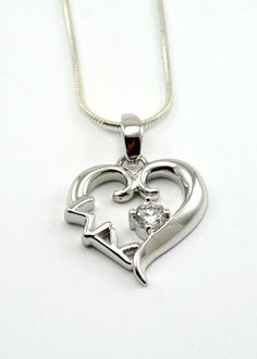 Sigma Kappa Sterling Silver Heart Pendant with Swarovski™ Clear Crystal