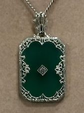 ART DECO 14K W Gold/Diamond Filigree CAMPHOR GLASS/CHRYSOPRASE Pendant/Necklace