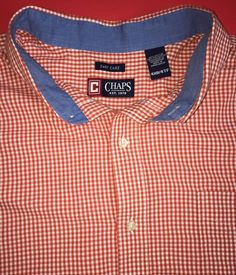 Men's 4XL 4XB Chaps shirt with red checks and chambray facing. Long sleeves.