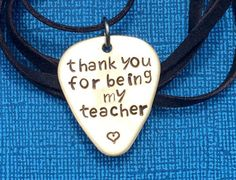 Custom Stamped Guitar Pick Necklace  Thank You For by PickityPick