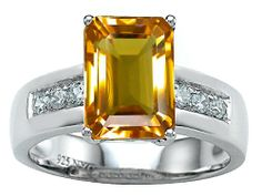 Original Star K(tm) Classic Octagon Emerald Cut 9x7 Engagement Ring With Genuine Citrine - Citrine, Classic, Emerald, Engagement, Genuine, Octagon, ORIGINAL, Ring, Star