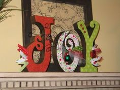 Joy Letters Ornament Decoupage Christmas Jingle Bells