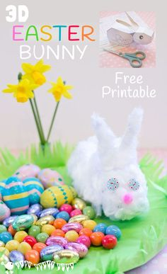 3D EASTER BUNNY PRINTABLE Kids will love this free 3D Easter Bunny printable. Simply print, cut out, stick and decorate to make an Easter Bunny craft you can actually play with.