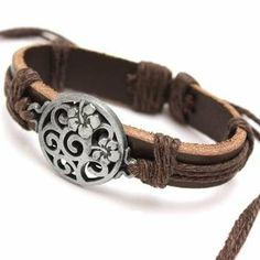 Seasons Online Natural Leather Gothic Symbol Bracelet Seasons Online. $7.98