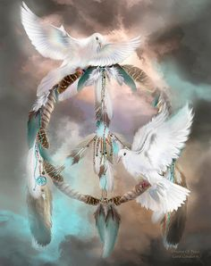 While I sleep Catch my dreams In your soft embrace And let them fall gently Covering me with Infinite grace While I sleep Carry my dreams On the wings of doves To a place of infinite beauty Peace and love.  Dreams of Peace prose by Carol Cavalaris  This artwork of two white doves on a feather dream catcher, with peace symbol feathers inside, is from the DreamCatcher series of art by Carol Cavalaris.