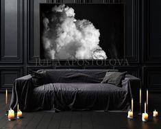 Large Black White Cloud Painting Black Art, Dark Wall Art for Modern Trending Decor, Abstract Office Art Gift for Men, Dark Sky Large Canvas