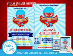 Mexican Luchador Lucha Libre Invitation Font Editable Template Instant Download Digital File by clipartsuperstore on Etsy Silhouette Cameo Free, Invitation Fonts, Outdoor Movie Nights, Poster Fonts, Download Digital, Programing Software, Blue Mask, Party Items, Digital Scrapbooking