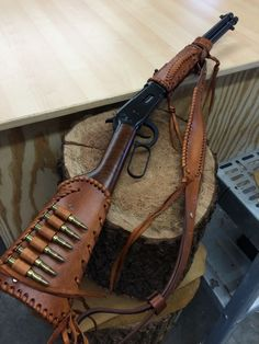 Handmade Leather Gun Stock Forearm Cover Shell Holder Sling No Drill Western Leather Rifle Sling, Leather Holster, Leather Tooling, Leather Bags, Sewing Leather, Leather Craft, Leather Jewelry, Custom Leather, Handmade Leather