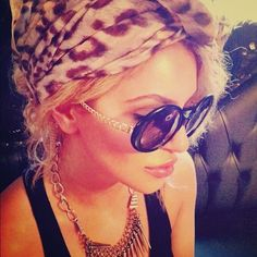leopard head scarf, sunglasses, statement necklace