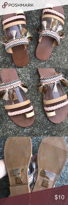 Tribal pattern earth tone toe sandals w/ tassels The cutest sandals I've ever owned but unfortunately I got the wrong size so they don't fit me *sad face* never worn only tried. Pleas give these beautiful babies a good home with lots of use! They deserve it. Forever 21 Shoes Sandals