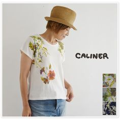 【caliner カリネ】 コットン 肩 プリント 半袖 カットソー (1151202)