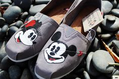 Painted Toms - Painted Bobs - Mickey and Minnie Mouse Shoes - Painted Canvas Flats