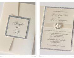 Jennifer Pocketfold Crystal Buckle Invitation Set Sample - Ivory, Champagne, Silver Glitter