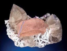 Morganite crystal with cleavelandite, quartz and spodumene, cm,. Minerals And Gemstones, Crystals Minerals, Mineralogy, Rocks, Diagram, Quartz, Boho, Mirror, Jewelry