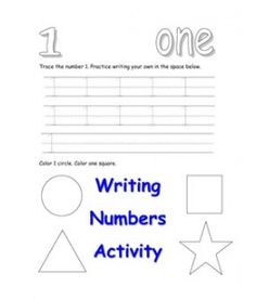 Preschool Printable Writing Numbers Activity