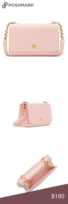 """Tory Burch Marion Embossed Patent Shrunken S bag 💯% Authentic. New Marion embossed Patent Shrunken Shoulder Bag.Color : Pale Apricot . A polished metal logo meets intricate detailing. Marion Embossed Patent Shrunken Shoulder Bag is made of glossy leather with a diamond pattern, accented with a chain-adorned cross-body. Embossed patent leather Magnetic snap closure 3 interior credit card slots Non-removable, non-adjustable cross-body strap Length: 7.17"""" (18 cm) Height: 4.78"""" (12 cm) Depth…"""
