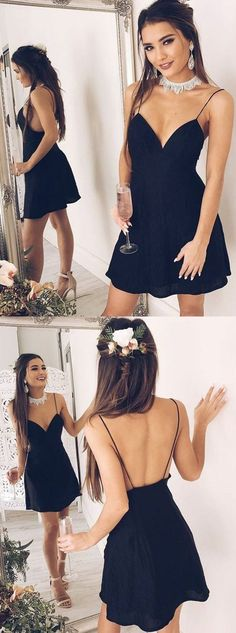 A-Line Spaghetti Straps Backless Short Black Homecoming Cocktail Dress