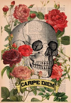 Skull Art Print CARPE DIEM Roses Skull Tatoo Wall Art by PRRINT