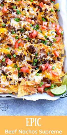 ground beef recipes for dinner You need to make this epic beef nachos supreme at your next game day. Seasoned ground beef, refried beans, cheese, tomatoes and green onions make such a great flavor combination. Nachos Supreme, Ground Beef Nachos, Ground Meat, Appetizer Recipes, Dinner Recipes, Appetizers For Dinner, Ground Beef Recipes For Dinner, Cooking Recipes, Healthy Recipes