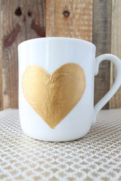 The Vault Files: DIY file: Gold painted heart mug for Valentines
